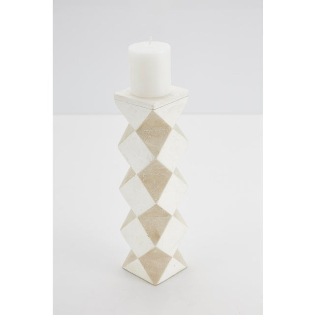 Contemporary 1990s Convertible Faceted Postmodern Tessellated Stone Candlestick or Vase For Sale - Image 3 of 8