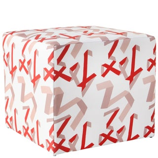 Cube Ottoman in Pink & Red Ribbon by Angela Chrusciaki Blehm for Chairish For Sale