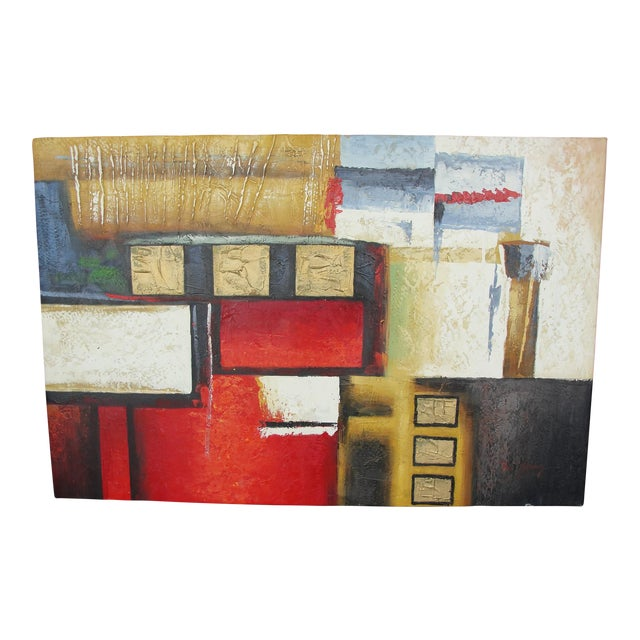 "B. Young ""Red Black Gold #2"" Abstract Expressionist Oil Painting For Sale"