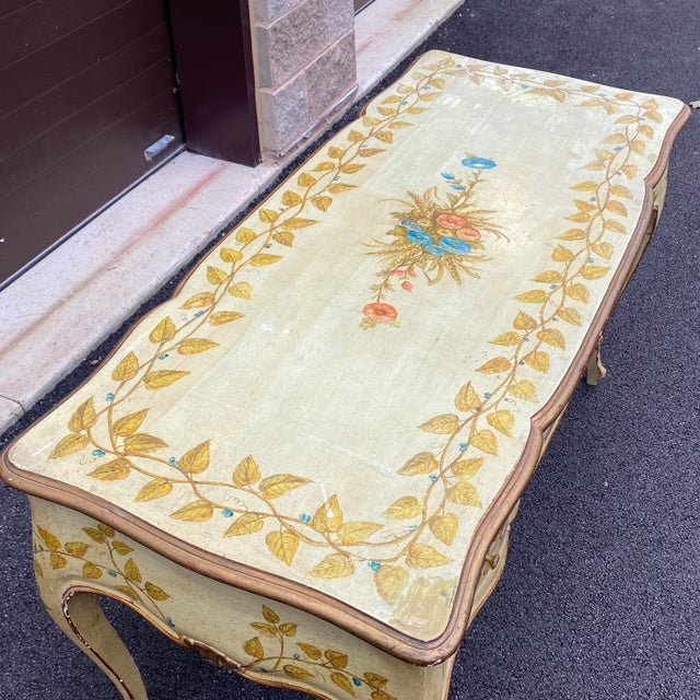 Mid 20th Century Distressed French Provincial Painted Desk For Sale - Image 5 of 13
