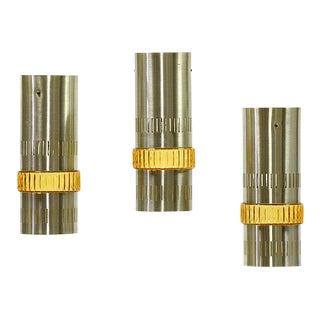 Sweden 1970s Aluminium Tubular Pendant Lights With Amber Glass Ring - Set of 3