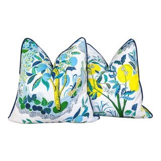 Outdoor Citrus Garden in Pool by Schumacher Pillow Covers - a Pair For Sale