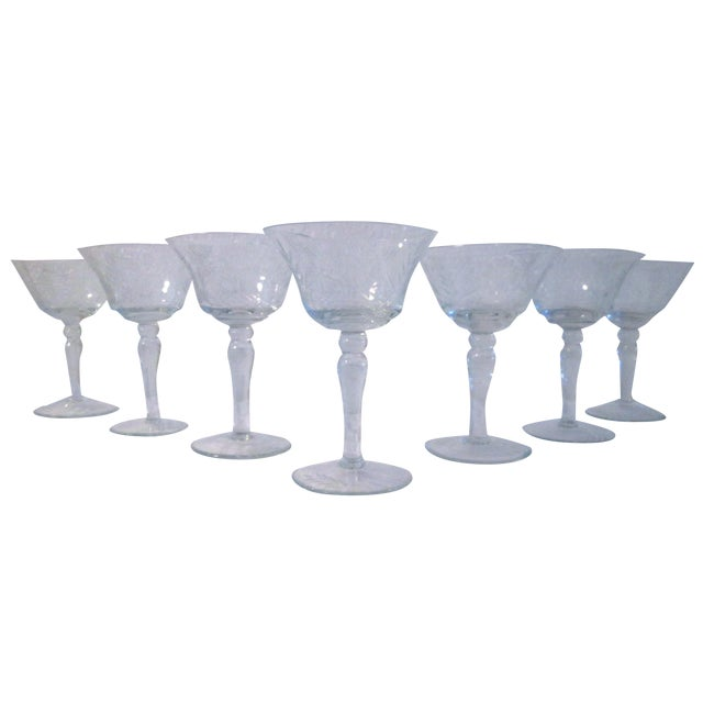 Etched Sunflower Cocktail Glasses - Set of 7 - Image 1 of 4