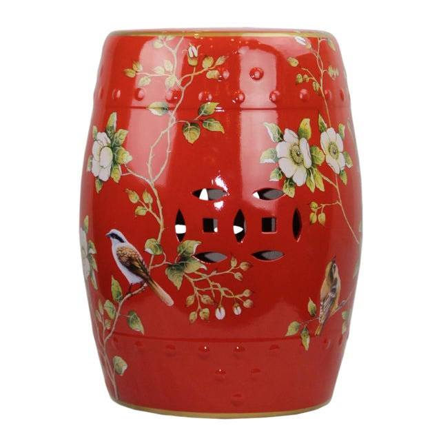 Pasargad DC Modern Contemporary Floral Porcelain Garden Stool For Sale