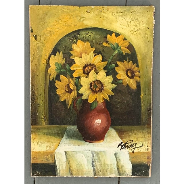 Mid-Century Modern Miniature Vintage Mid-Century Modern Sunflower Painting, Signed For Sale - Image 3 of 3