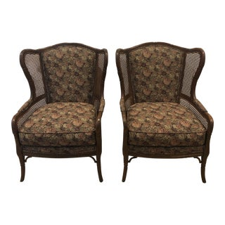 1990s Vintage Ethan Allen Faux Bamboo Rattan Cane Wingback Arm Chairs- A Pair For Sale
