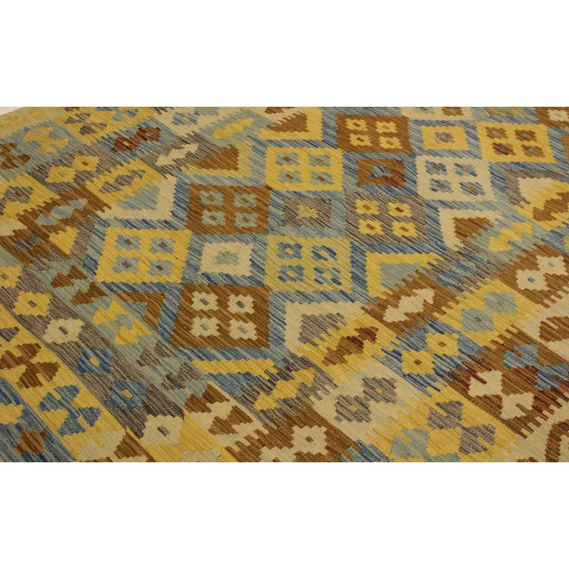 Textile Rustic Southwestern Dustin Gray/Blue Hand-Woven Kilim Wool Rug -5'11 X 8'2 For Sale - Image 7 of 8