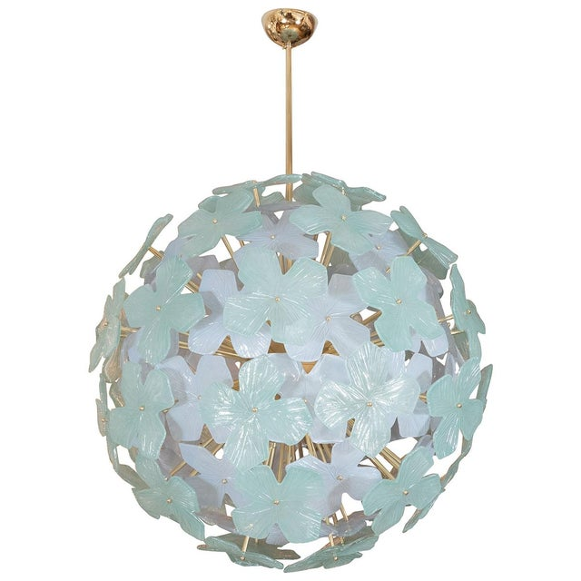 2010s Spherical Pale Green Flower Form Chandelier For Sale - Image 5 of 5