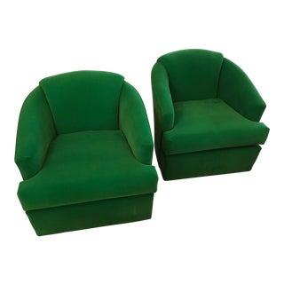 Restored, Bright Green Velvet Swivel Chairs, a Pair For Sale