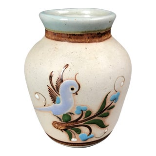 Mexican Tonala Pottery Vase With Bird Design For Sale
