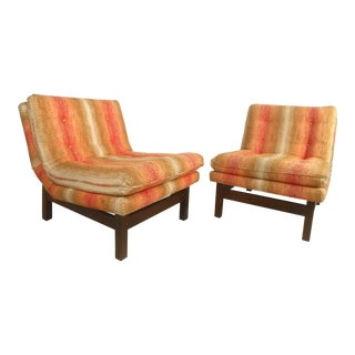 Pair of Vintage Modern Edward Wormley, Dunbar Style Slipper Chairs For Sale