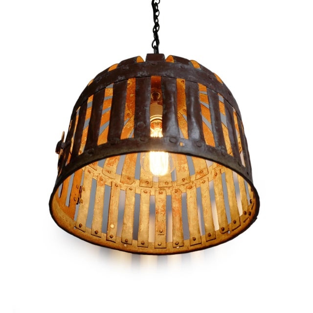 Farmhouse Industrial Iron Basket Cage Lantern For Sale - Image 3 of 5