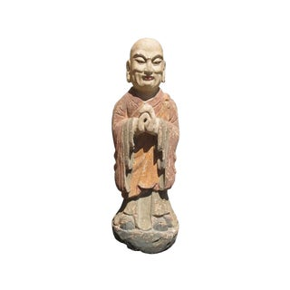 Chinese Wood Hand Carving Standing Monk Statue For Sale