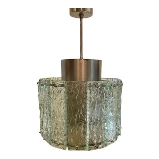 "Vintage 1970s Italian ""Ice"" Glass Pendant For Sale"