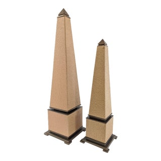 Hollywood Regency Faux Ostrich and Brass Obelisks - a Pair For Sale