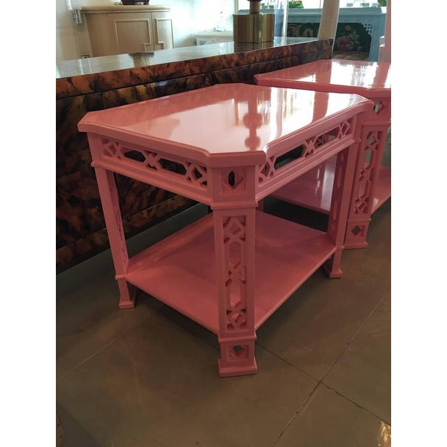 Chinoiserie Pink Lacquered Fretwork Side Tables - A Pair - Image 5 of 11