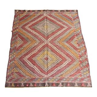 1970s Orange Tones Floor Kilim For Sale