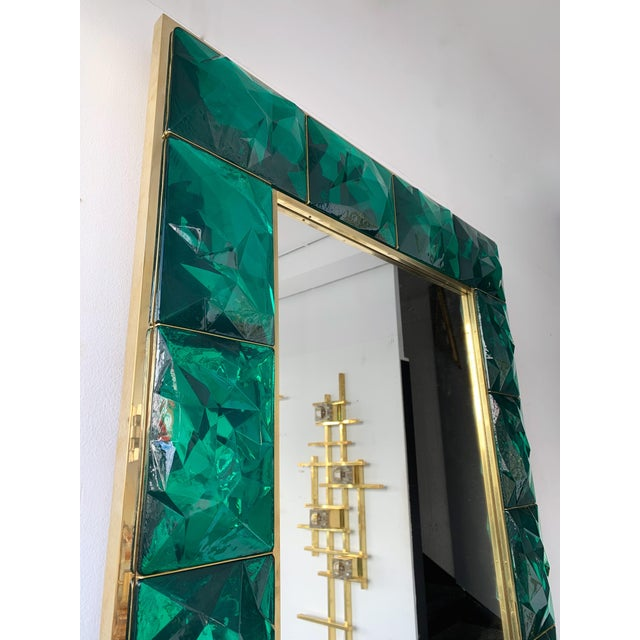 Contemporary Brass Mirror Console with Green Murano Glass, Italy For Sale - Image 9 of 13