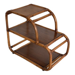 Antique Bent Rattan Three Level Side Table For Sale