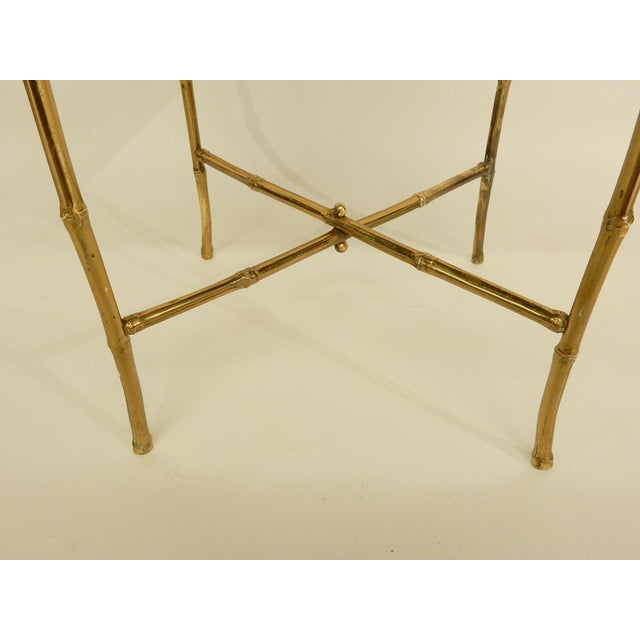 Pair of Bamboo Brass Base and Chinoiserie Top Side Tables For Sale In New Orleans - Image 6 of 8