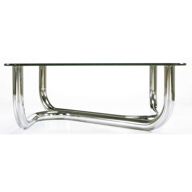 Sinuous Chrome and Glass Coffee Table - Image 5 of 7