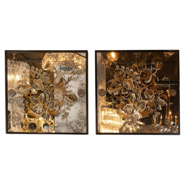 Gold Pair of 1940s French Églomisé & Antiqued Mirrored Panels With Bronze Details For Sale - Image 8 of 8