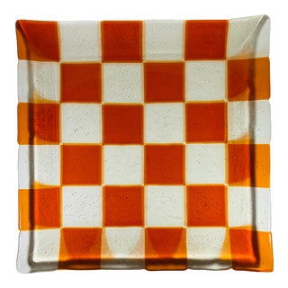 Mid Century Modern Burnt Orange and Clear Fused Art Glass Bowl Tray For Sale