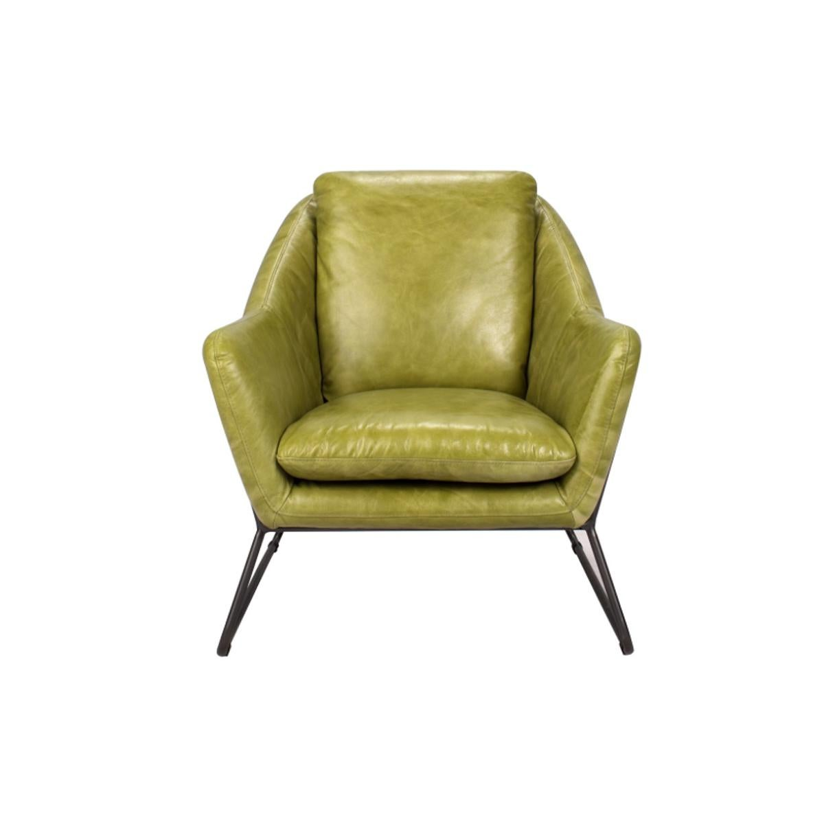 Make A Statement With This Elegant Lime Green Leather Club Chair. The Bent  Metal Frame