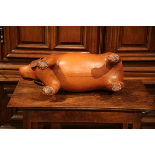 Tan Large French Brown Leather Dog Footstool For Sale - Image 8 of 9