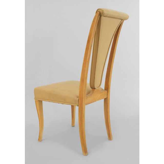 """Set of 8 English Art Deco maple high back dining chairs with beige leather upholstery (2 arms:22½""""w x 26""""d x 42""""h/6 side)..."""