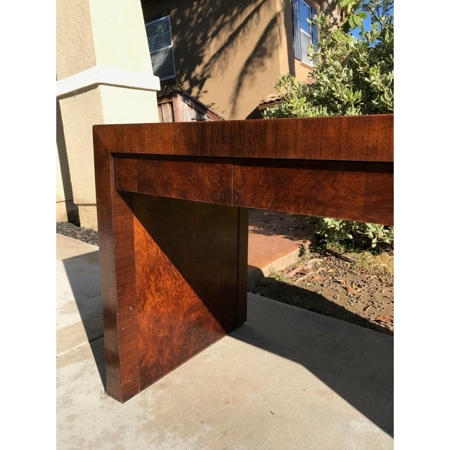 1970s Vintage Burl Wood Parsons Writing Desk by Hekman Furniture Company For Sale - Image 5 of 12