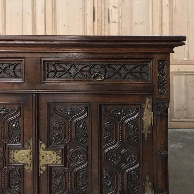 19th Century French Gothic Oak Buffet With Brass Hardware For Sale - Image 11 of 13
