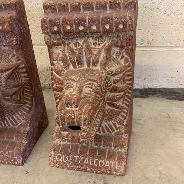 Large Terra-Cotta Bookends Quetzalcoatl Pyramid For Sale In Richmond - Image 6 of 12
