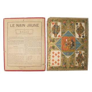 Vintage French Game Board & Rules Sheet For Sale