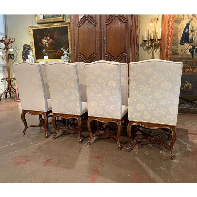 Set of Eight Louis XV Style Carved Walnut Dining Chairs From Minton-Spidell For Sale - Image 11 of 13