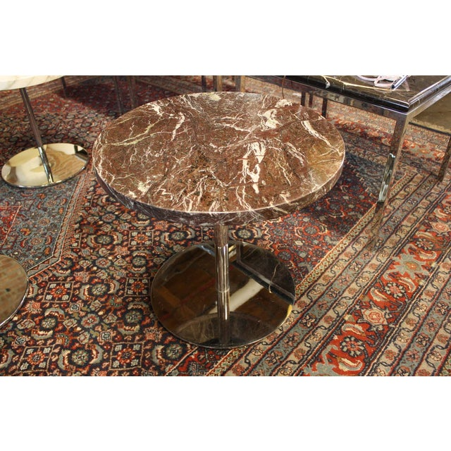 Vintage Zographos Maroon Marble Top Side Table - Image 2 of 5