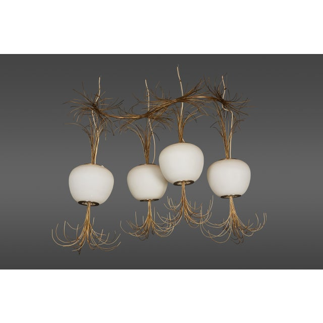 Roberto Giulio Rida a Unique and Original Sculptural Opaline Glass and Brass Ceiling Light Fixture For Sale In Los Angeles - Image 6 of 6