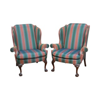 Kindel Winterthur Collection Chippendale Mahogany Ball & Claw Pair Wing Chairs For Sale
