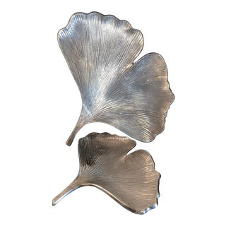 Modern Aluminum Leaf Serving Trays- A Pair For Sale