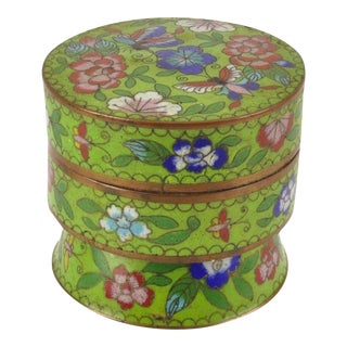 Chinese Cloisonné Covered Butterfly Pedestal Box For Sale