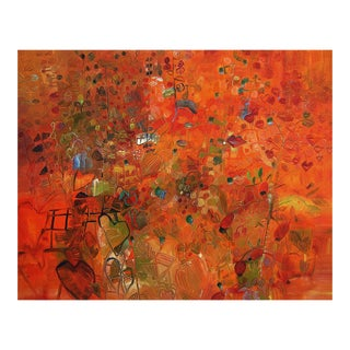 """Urso Contemporary Abstract Orange Painting """"Laughing Berries"""" For Sale"""