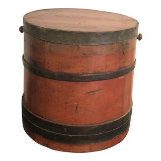 Antique Wooden Red Large Firkin For Sale