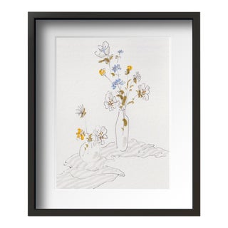 """Flower on Desk 1"" Contemporary Still Life Drawing With Frame By Tang Wen Ching For Sale"