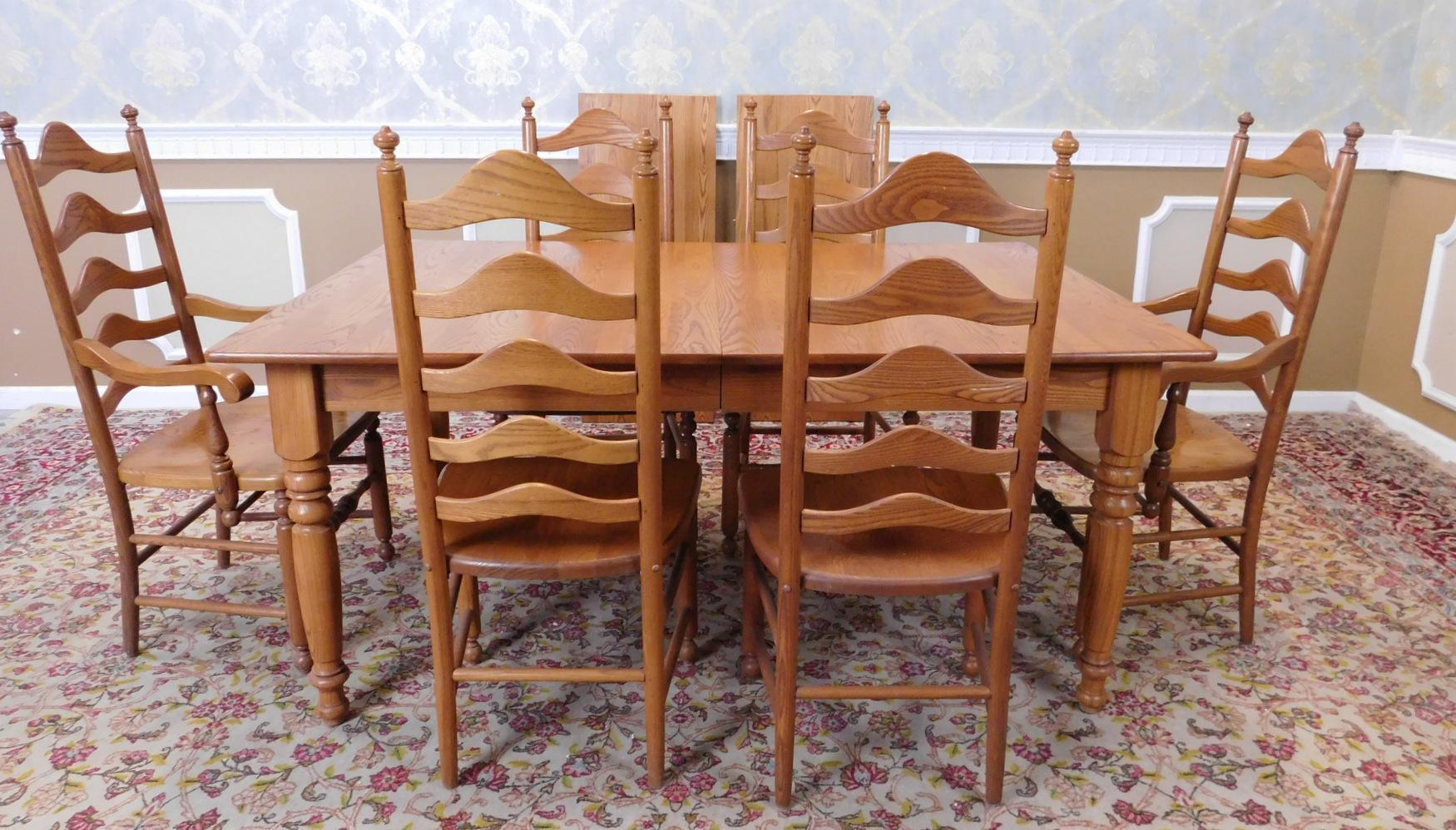 Solid Oak Dining Set ~ Kitchen Table U0026 6 Ladder