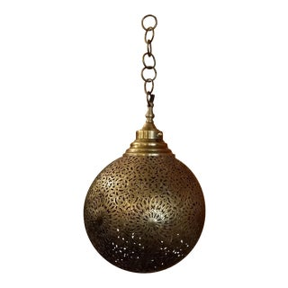 Intricate Moroccan Copper Ball Wall / Ceiling Lamp or Lantern For Sale
