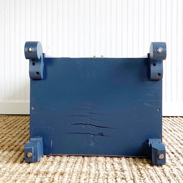 Navy Blue Antique Empire Painted Cabinet For Sale - Image 8 of 11