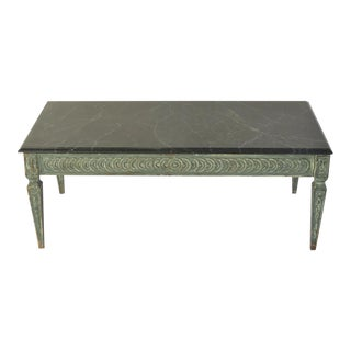 Mid Century Italian Carved and Painted Coffee Table Marble Top For Sale