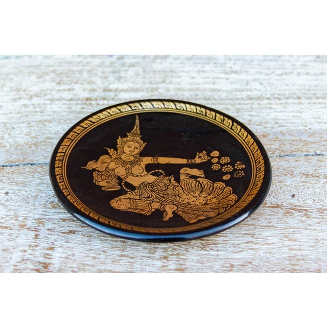 Thai Black and Gilt Plate For Sale - Image 4 of 5