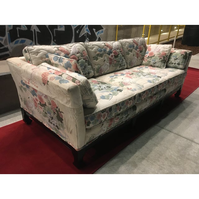 Manner of Michael Taylor for Baker Tufted Chinoiserie Sofa With Ming Legs For Sale - Image 13 of 13