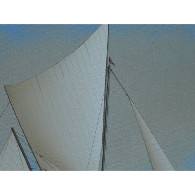 21st Century Vintage Yacht Racing Painting Possibly America's Cup by Richard Lane For Sale - Image 9 of 12
